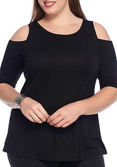 Grace Elements Plus Size Cold Shoulder Swing Top