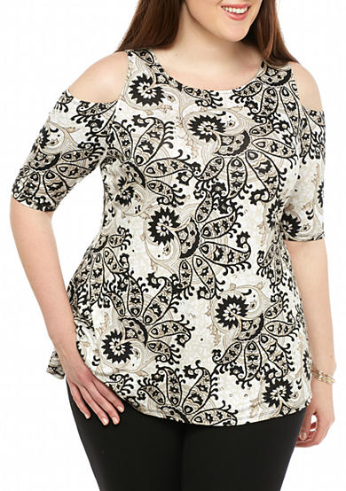 Grace Elements Plus Size Printed Cold Shoulder Swing Top