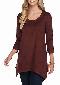 Grace Elements Faux Suede Sharkbite Top