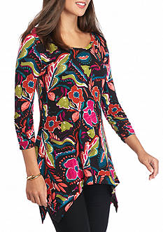 Grace Elements Retro Floral Sharkbite Top