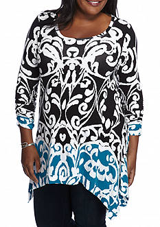 Grace Elements Plus Size Scoop Neck Sharkbite Tunic