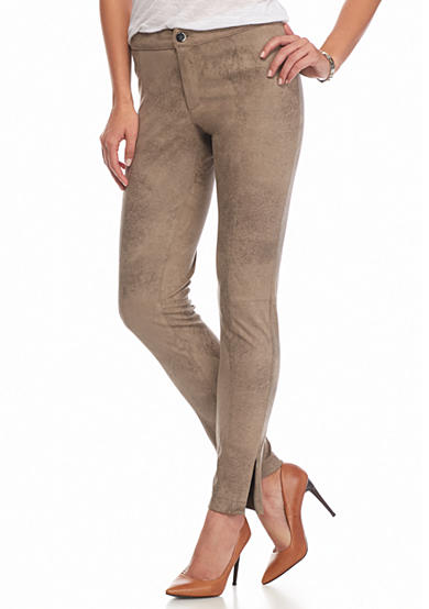 Grace Elements Faux Suede Leggings With Seam