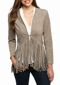Grace Elements Faux Suede Fringe Jacket