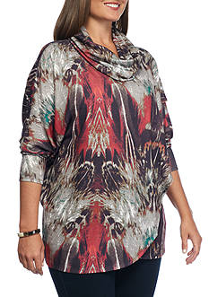 Grace Elements Plus Size Peacock Feather Sweater