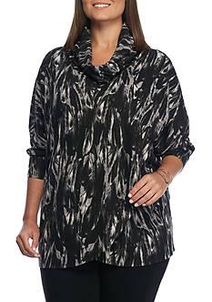 Grace Elements Plus Size Cascading Feather Cowl Neck Sweater