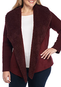 Grace Elements Plus Size Faux Sherpa Suede Cardigan