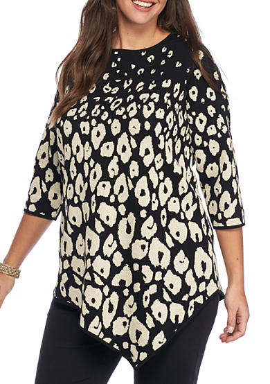 Grace Elements Plus Size Three-Quarter Sleeve Envelope Hem Sweater