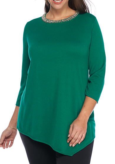 Grace Elements Plus Size Scoop Neck Laced Pearl Necklace Tunic