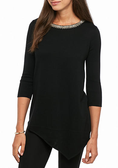 Grace Elements Solid Jewel Sweater