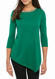 Grace Elements Solid Jewel Sweater