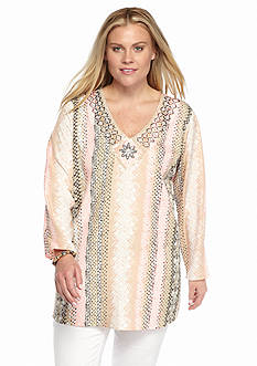 Grace Elements Plus Size Striped Print Beaded Tunic
