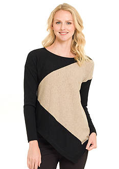 Premise Cashmere Jersey Colorblock Asymmetrical Pullover
