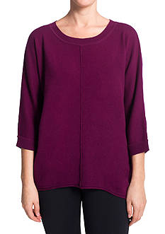 Premise Cashmere Cashmere 3/4 Dolman Sleeve Pullover High Low With Exposed Seams