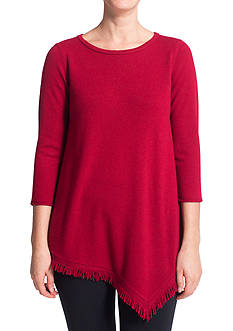 Ply Cashmere™ Cashmere Scoop Neck Fringe Envelope Hem Tunic