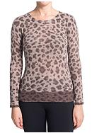 Premise Cashmere Crew Neck Color Block Leopard