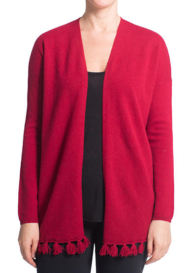 Premise Cashmere Open Front Pompom Cardigan with Pocket