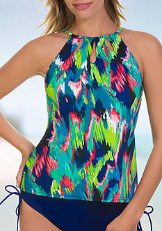 Caribbean Joe The Bluff High Neck with Cutouts Tankini Swim Top