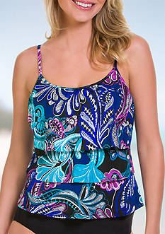Caribbean Joe Free Spirit Triple Tier Ruffle Tankini Swim Top