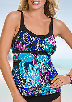 Caribbean Joe Free Spirit Framed Peasant Tankini Swim Top