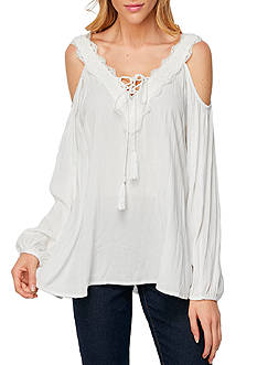 Cirana Cold Shoulder Lace-Up Blouse
