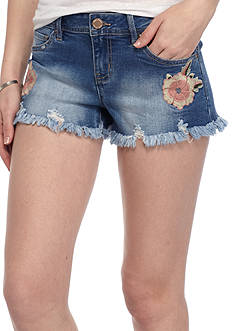 YMI Floral Embroidered Denim Shorts