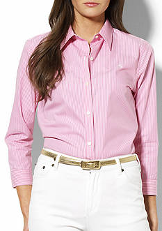 Lauren Ralph Lauren Priya Three Quarter Sleeve Striped Shirt