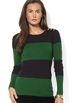 Lauren Ralph Lauren Button-Shoulder Striped Cotton Crewneck Sweater