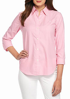 Lauren by Ralph Lauren Cotton Cropped-Sleeve Shirt