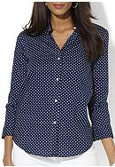 Lauren Ralph Lauren Wrinkle-Free Polka-Dot Dress