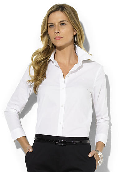 Lauren Ralph Lauren Cotton Cropped-Sleeve Shirt