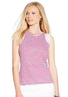 Lauren Ralph Lauren Striped Lace-Trimmed Tank
