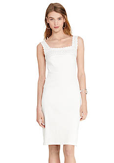 Lauren Ralph Lauren Crochet-Trim Cotton Dress