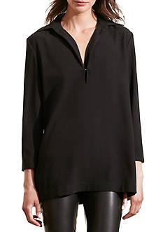 Lauren Ralph Lauren Crepe Split-Neck Tunic