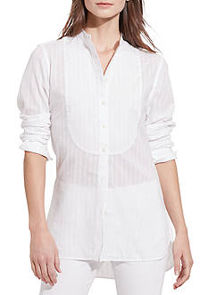 Lauren Ralph Lauren Striped Bib-Front Shirt