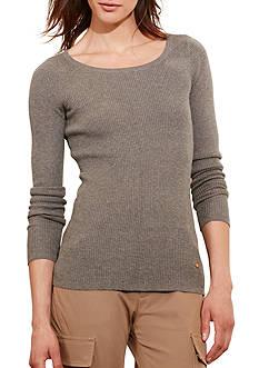 Lauren Ralph Lauren Ribbed Stretch Cotton Sweater