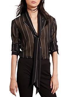 Lauren Ralph Lauren Georgette Necktie Blouse