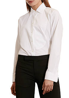 Lauren Ralph Lauren Cotton Poplin Bib Shirt