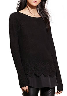 Lauren Ralph Lauren Layered Lace-Hem Sweater