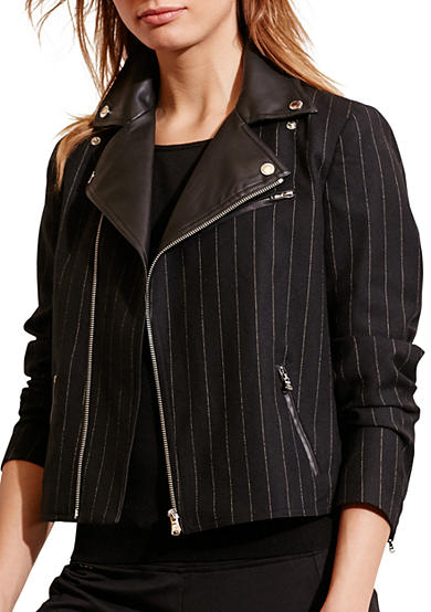Lauren Ralph Lauren Pinstriped Wool Moto Jacket