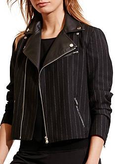 Lauren Ralph Lauren Pinstriped Wool Moto Jacket