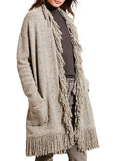 Lauren Ralph Lauren Fringed Merino Wool Cardigan