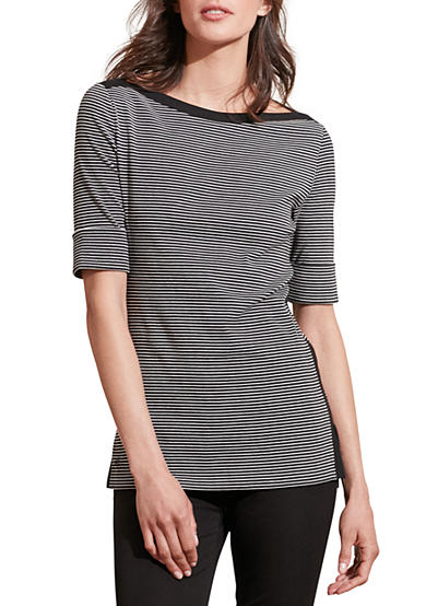 Lauren Ralph Lauren Striped Stretch Cotton Tee