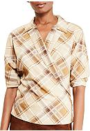 Lauren Ralph Lauren Plaid Crepe Wrap Shirt