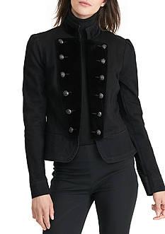 Lauren Ralph Lauren Peplum Denim Military Jacket