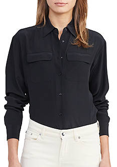 Lauren Ralph Lauren Silk Button-Down Shirt