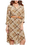 Lauren Ralph Lauren Plaid Crepe Shirtdress