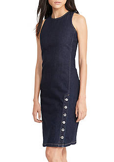 Lauren Ralph Lauren Button-Hem Denim Dress