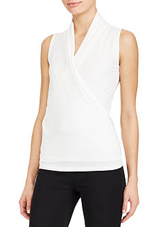 Lauren Ralph Lauren Stretch-Jersey Surplice Top