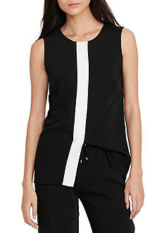 Lauren Ralph Lauren Two-Toned Crepe Top