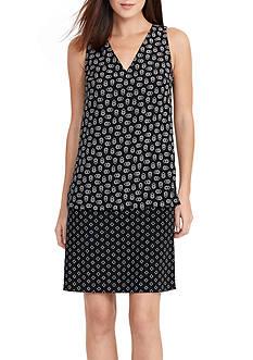 Lauren Ralph Lauren Pattern-Blocked Crepe Dress